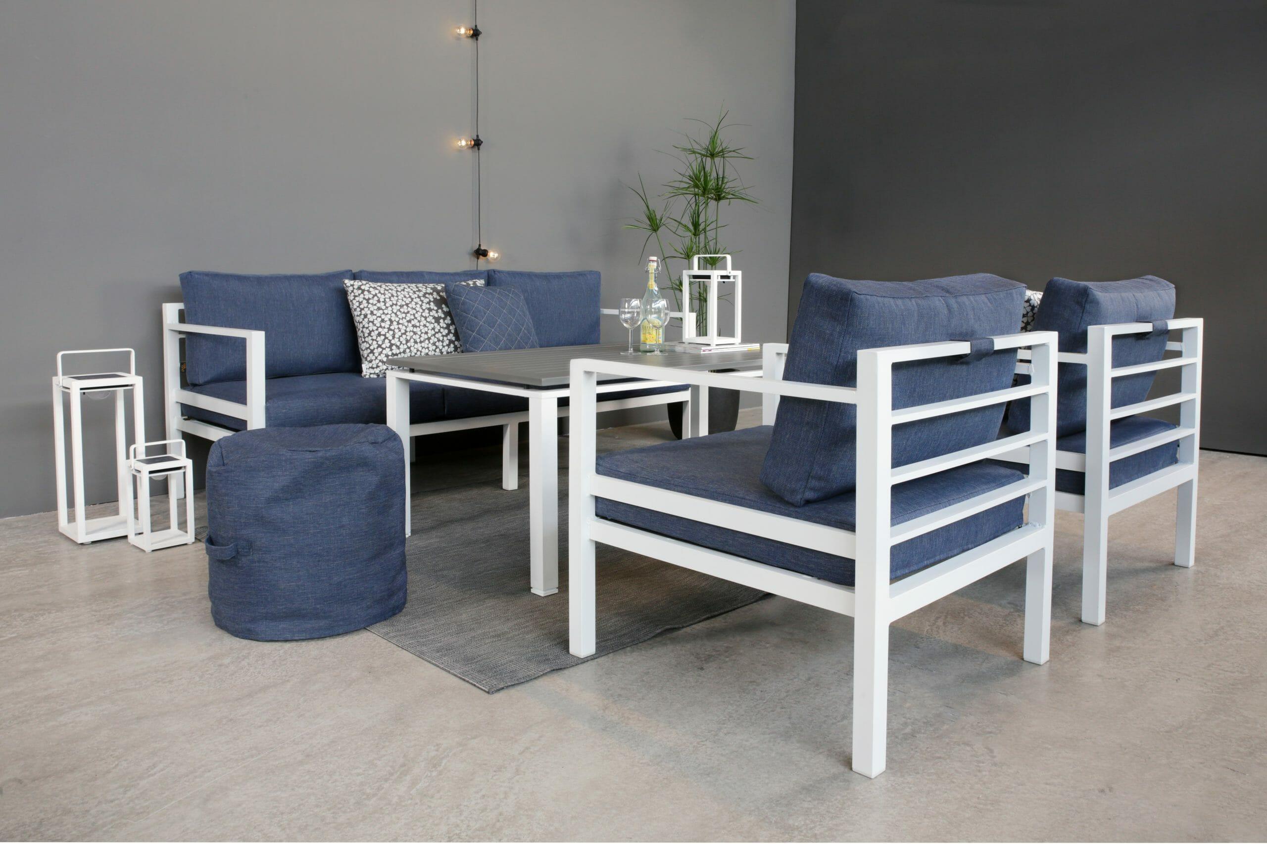 Adelaide Hagegruppe 3+1+1+grått bord blå allværsputer