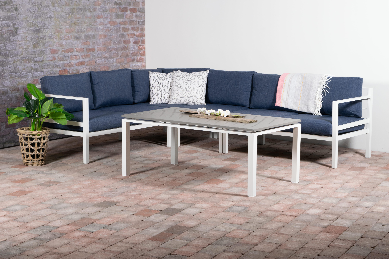 Adelaide Hjørnegruppe med bord vendbar Hvit aluminium Marineblå Oaktekstil