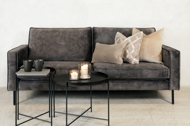 Roya 3 seter sofa velour 68 mørk grå kald