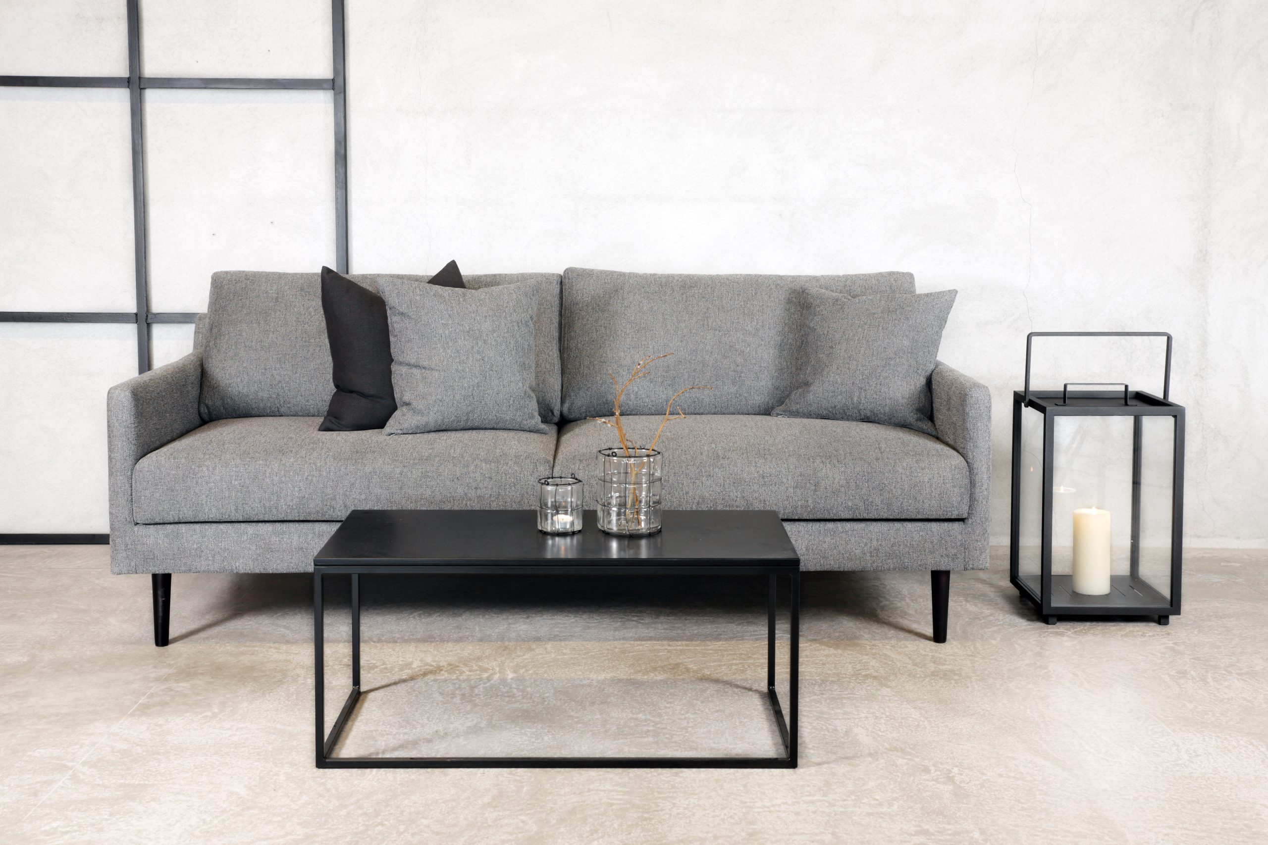 Nora sofa brego varmgrå sorte bein