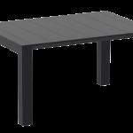 VEGAS Sort Plast Uttrekk Spisebord 100 140x100cm | Oakland