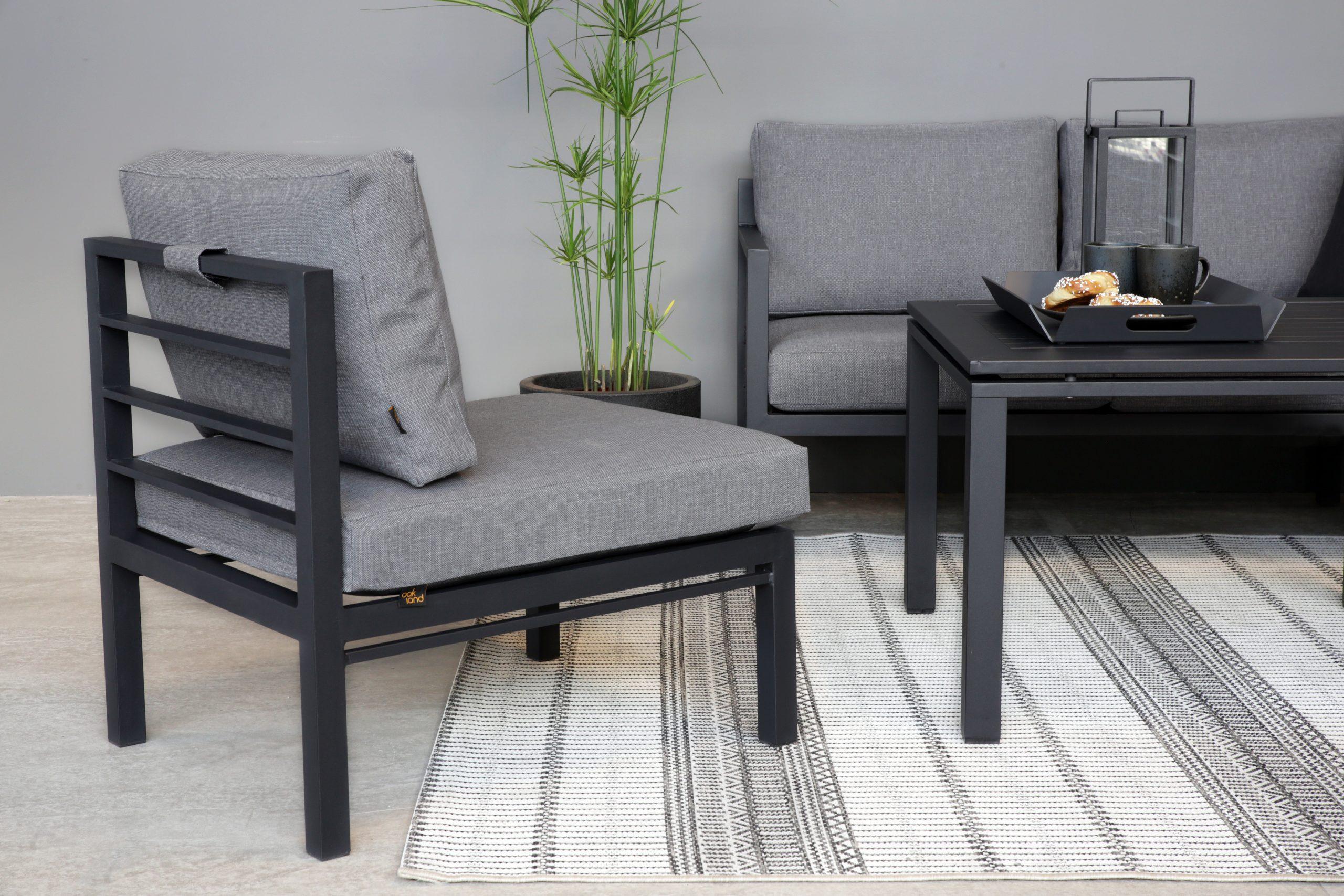 Adelaide 3+2med lite loungebord koks bord skyggegrå midt modul som stol nærme