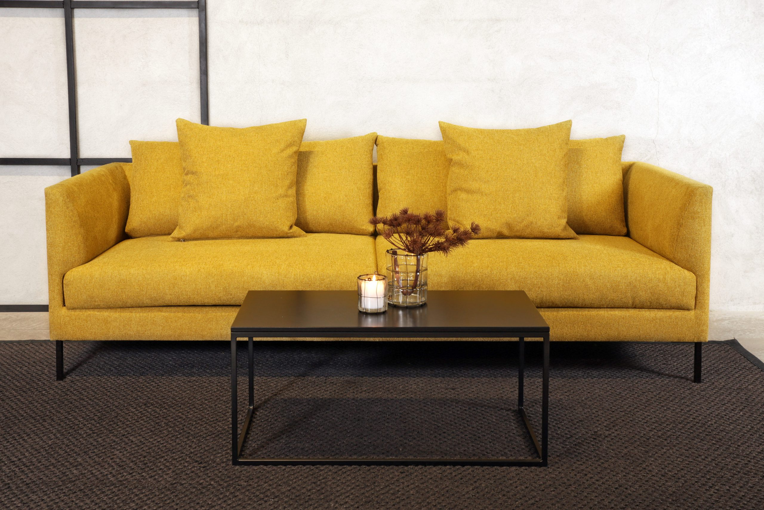 Oscar sofa 3 seter sennep front 3
