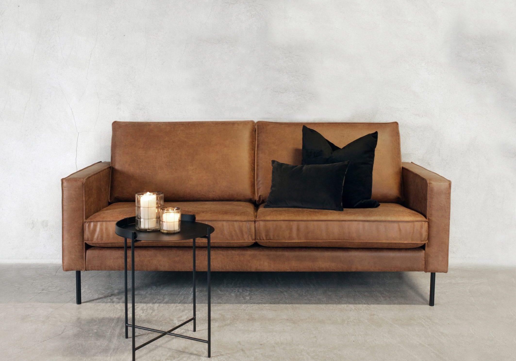 Amalie 2 seter sofa konjakk hud