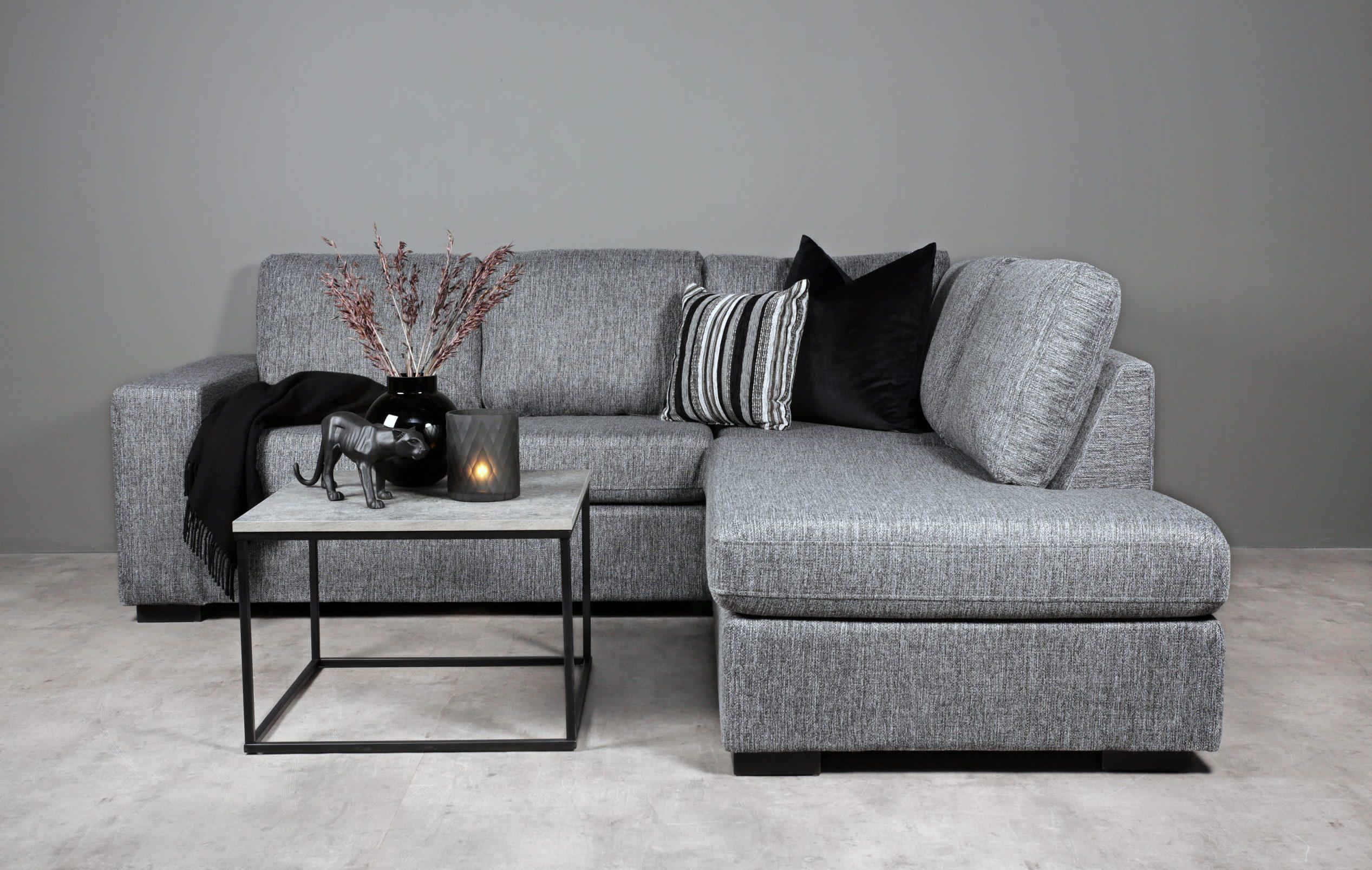 Narve sofa grå 3 seter med sjeselong H