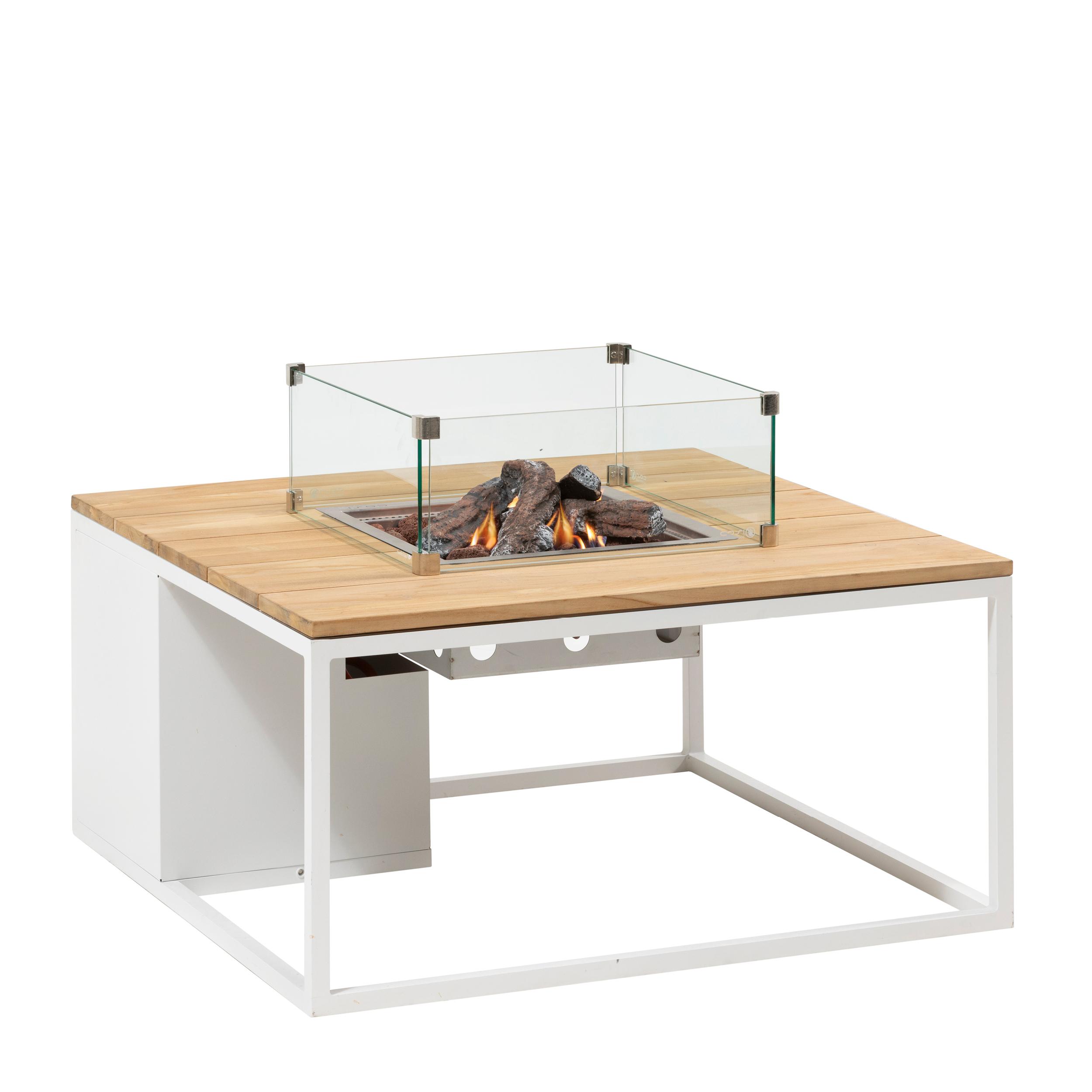 5957890 - Cosiloft 100 lounge table white-teak - glass - side