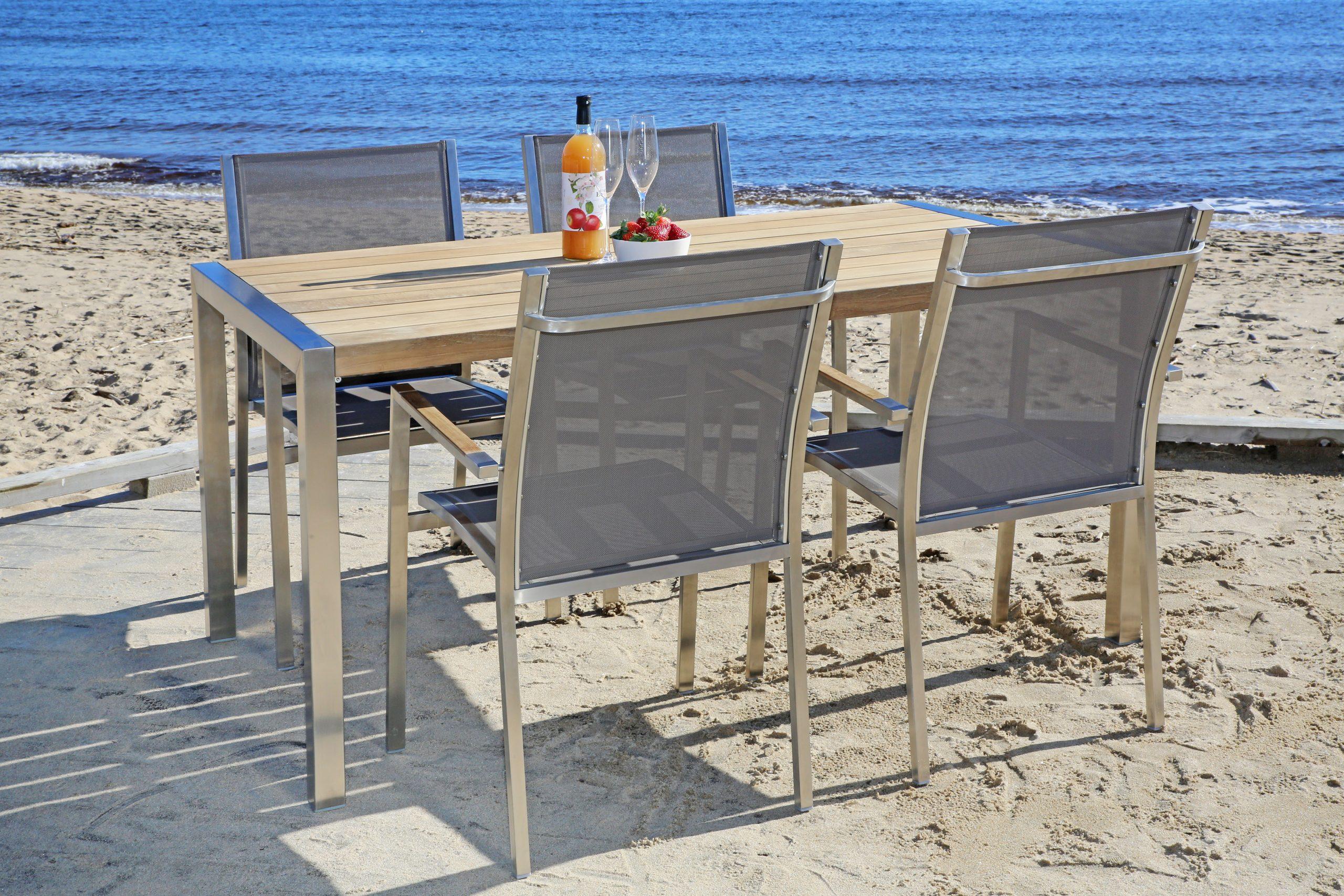 Duke spisebord 160 rustfritt stål+4 duke spisestoler