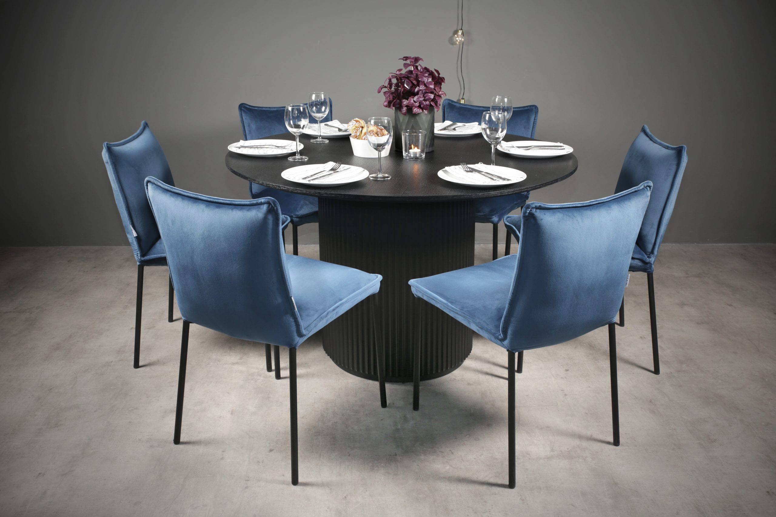 Retro rundt 120 bord med steigen 6 blå-2