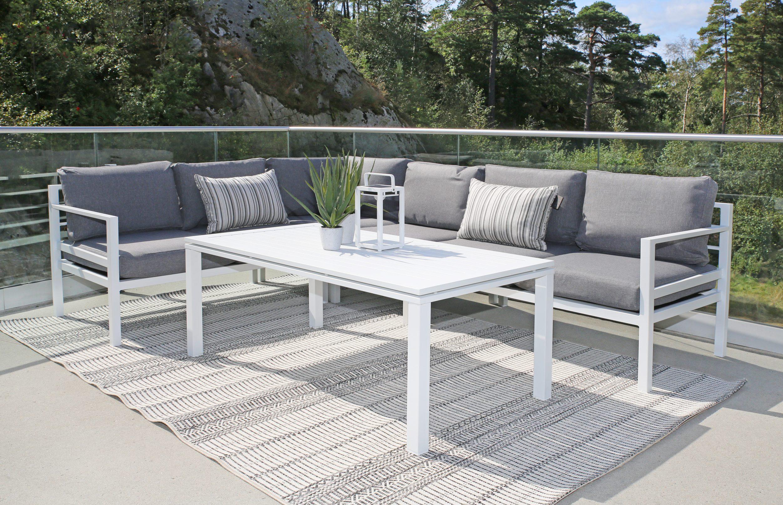 Adelaide 3+2 hvit skyggegrå+Adelaide loungebord